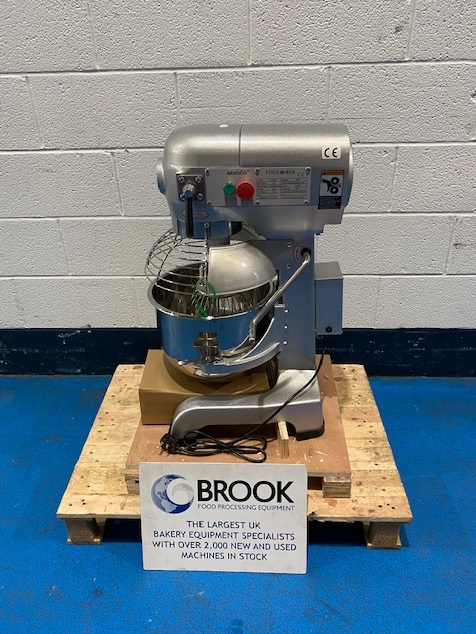 NEW RECORD 20LT PLANETARY MIXER, GUARD, STAINLESS BOWL AND 3 TOOLS, NEW UNUSED